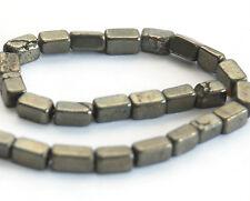 La moitié Strand la pyrite de fer rectangle / brique en forme de perles, 6 x 3.5 mm, gemstone