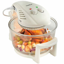 VonShef Premium 12L Hinged Lid Halogen Convection Oven Cooker & Extender Ring