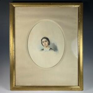 Antique French Portrait Miniature, Pastels, Listed Artist, c.1880 Beautiful Girl