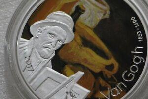 GABON 1000 FRANCS 2017 VAN GOGH SILVER COLOURED PROOF VERY RARE B34 CG46