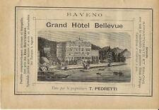 Stampa antica pubblicità GRAND HOTEL BELLEVUE Baveno 1889 Old antique print