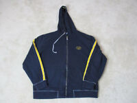 VINTAGE Nautica Hoodie Jacket Adult Large Blue Gray Hooded Sweater Spell Out 90s