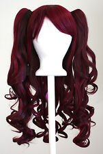 20'' Lolita Wig + 2 Pig Tails Set Burgundy Red and Brown Mixed Gothic Sweet