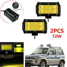 2x Car Double Row Yellow LED Stri Light Work Off-road  Vehicle  Headlights Kit