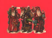 3 kleine originale geprägte Weihnachtsmänner Oblaten 5,5 cm - DIE CUT SCRAPS