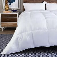 Luxurious Striped Down Alternative Overfilled Comforter All-Season (White)