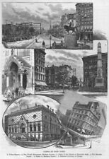 NYC. Union/Madison Squares Worth Mnmt Masonic Temple Design Academy 1882 print