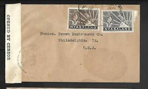 NYASALAND, WW11 KGV1 1941 CENSORED COVER  TO USA, 3d RATE, CENSOR MARK, TAPE