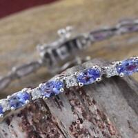 "6.6Ct Oval Cut Tanzanite  & Diamond 14K White Gold Over 7"" Tennis Bracelet"