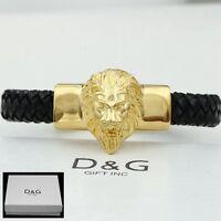 "DG Mens 8.5"" Stainless Steel,Gold Black Braided Leather,LION HEAD,Bracelet..BOX"