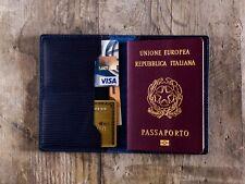 Custodia in pelle passaporto Blu notte, portafogli, portapassaporto artigianale