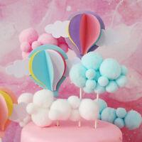 3Pcs/6Pcs White Cloud Birthday Cake Toppers Kids Baby Boy Girl Party Cake Decors