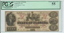 Cr 34 State of Florida Tallahassee FL $5 March 1 1864 PCGS Choice About New 55
