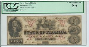 $5 1864 State of Florida Tallahassee FL PCGS Choice About New 55 Cr 34