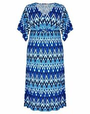 Autograph Blue gypsy boho geo print wide short sleeve maxi dress size 18 NEW
