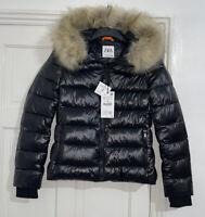 ZARA BLACK SHINY COMFORTEMP® THERMAL INSULATION PUFFER JACKET COAT SIZE M BNWT