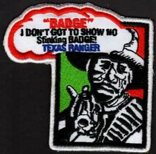 "Texas Ranger Law Enforcement Fantasy Patch Ranger with Gun 3-1/4"" Made Usa"
