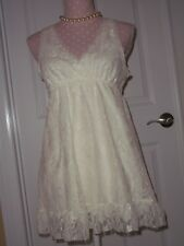 Candie's Top Ivory Lace Sleeveless Blouse Women's Medium