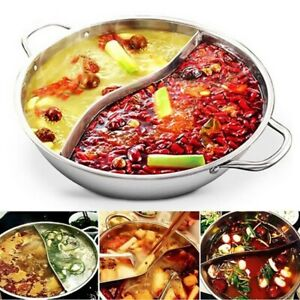 28/30cm Hot Pot Twin Divided Stainless Steel Cookware Ruled Compatible Soup US