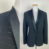 VTG 90s Black Tuxedo Jacket S Tinsel Stripes Evening Blazer Satin Black Tie NYE