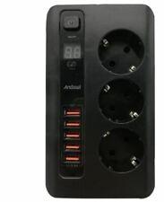 CIABATTA MULTIPRESA DA TAVOLO PC TABLET INTETTUTORE 3 SCHUKO 5 CARICATORE USB TI