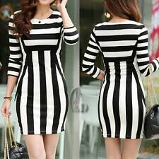 Cotton Blend Stretch Dresses Stripes