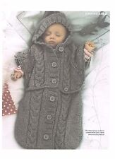 Baby knitting pattern,Sleeping bag poncho.cocoon.girl, boy, cable, hood,.papoose