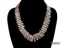 6x24mm Pink Freshwater Pearl Sticks Necklace Mother's Day Party Jewelry jyxpearl