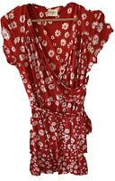 KALIKO Size 18 Women's Red Floral Stretchy V Neck Summer Dress with Belt