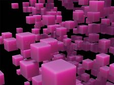 ABSTRACT BLOCK DESIGN PINK CUBE 3D LARGE POSTER ART PRINT BB2904A
