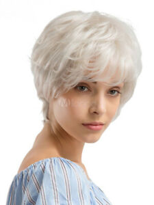 100% Human Hair Natural Short Straight White Fashion Women's Wig