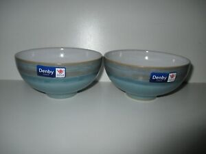 Denby Pottery Azure Coast 2 x Rice Bowls New First Quality Excellent Condition