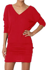 Womens V Neck Long Batwing Tunic Dress Top 3/4 Sleeve UK 8-28