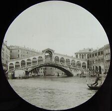 Glass Magic Lantern Slide VENICE RIALTO BRIDGE FROM THE CANAL C1910 PHOTO ITALY