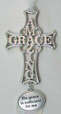 zzT His Grace is sufficient for me amazing grace Faithful Cross Ornament ganz