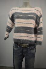 Weicher Damen Strick Pullover Gr. S M  Hellrosa-Grau 3/4 Arm 100%Angora