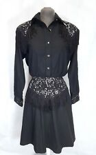Lilia Smitty Exclusive Dress Women's 7/8 Western Style Black Fringe Lace VTG