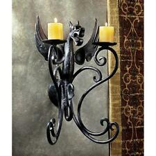 Italian Gothic Castle Italian Cast Iron Dragon Wall Sconce Dual Candle Holder