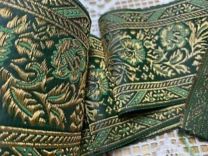 "Jacquard Renaissance SCA Fleurs 4"" Trim Gold Metallic Flowers 1yd Made in France"