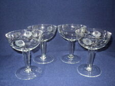 Vintage Crystal Glass Etched Hollow Stem Champagne Glasses x 4