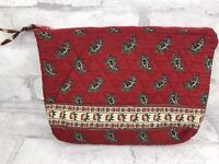"""Vintage Vera Bradley Lined Cosmetic Bag Red Paisley Retired Indiana Tag 9x7"""""""