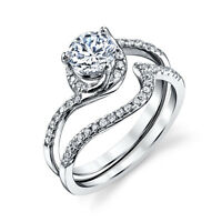 Sterling Silver CZ Engagement Wedding Ring Set Cubic Zirconia Matching Band