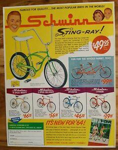 VINTAGE 1964 SCHWINN STINGRAY ADVERTISEMENT