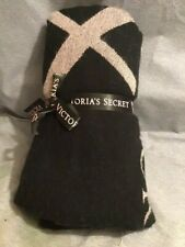New Victoria'S Secret Logo Black Blanket Throw Large Very Soft New With Tag