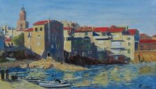 Vintage French Oil Painting, Saint-Tropez, French Riviera, Signed Kerou, 1960's