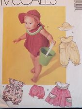OOP McCALLS 6518 Infants Jumpsuit/Rompers Dress Bloomers & Hat PATTERN S-XL UC