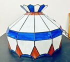 """Vintage 20.5"""" Tiffany Style Red/White/Blue Stained Glass Hanging Ceiling Light"""