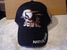 WOLF HOWLING AT THE MOON NATIVE PRIDE  BASEBALL CAP HAT #2 ( BLACK )