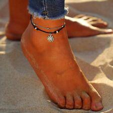 frauen leder multi - layer sun - anhänger fuß - kette fußkettchen perlen charme