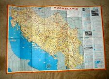 LARGE VINTAGE CARTOON MAP YUGOSLAVIA JUGOSLAVIJA LOVELY ILLUSTRATIONS c.1970